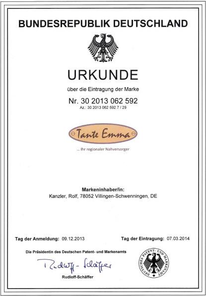 Urkunde Marke Tante Emma